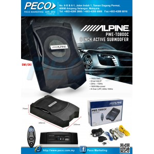 ALPINE 8 inch Active Subwoofer PWE-T080OC
