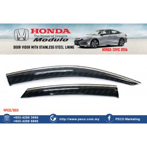 HONDA CIVIC 2016 Door Visor with  Stainless Steel Lining - Modulo
