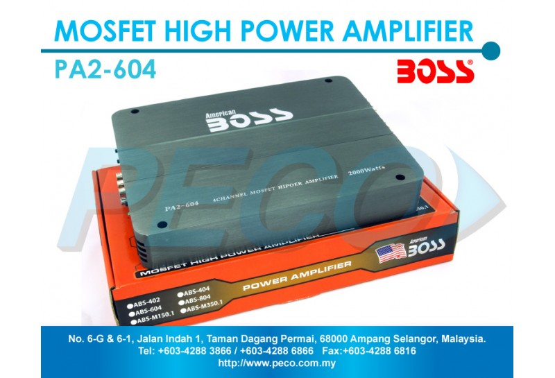 american boss 4 channel mosfet high power amplifier pa2 604. Black Bedroom Furniture Sets. Home Design Ideas