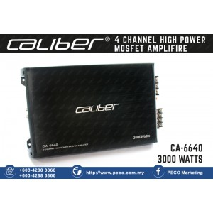 Caliber CA-6640 | 3000 watts max. power 4 channel HIGH POWER MOSFET AMPLIFIER