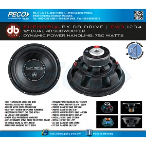 """EUPHORIA BY DB DRIVE EW3 12D4 12"""" Dual 4Ohm Subwoofer"""