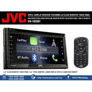JVC 2-DIN AV Receiver KW-V680BT with Apple CarPlay