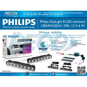 Philips 12824WLEDX1 DayLight 8 High Powered Luxeon LED Daytime Running Light