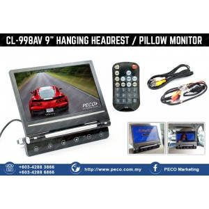 CL-998AV 9 inches Hanging Headrest / Pillow Monitor - Black