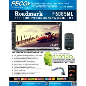 "Roadmark 6.95"" 2 DIN DVD/SD/USB/MP3/MIRROR LINK F6085ML"
