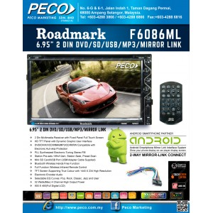 "Roadmark 6.95"" 2 DIN DVD/SD/USB/MP3/MIRROR LINK F6086ML"