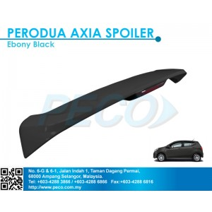 Perodua AXIA OEM Spoiler with break LED light - Ebony Black