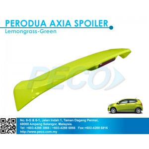 Perodua AXIA OEM Spoiler with break LED light - Lemongrass Green