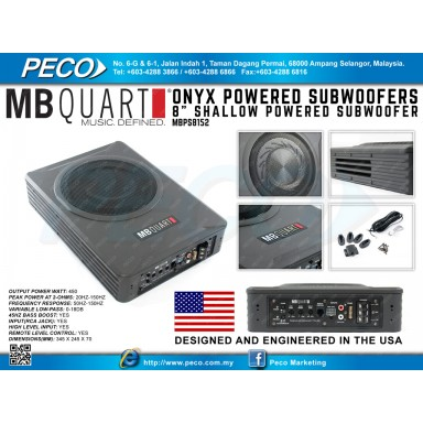 """MB QUART ONYX POWERED SUBWOOFERS 8"""" Shallow Powered Subwoofer"""